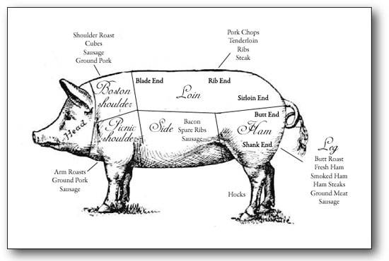 ham cuts diagram