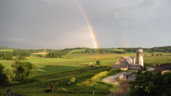 rainbow above Smith Family Farm in New Haven VT